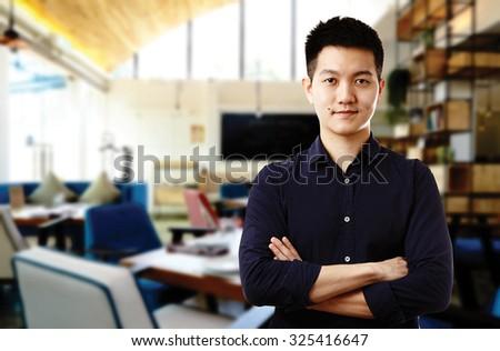 asian business man , restaurant owner - stock photo
