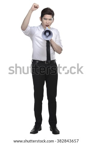 Asian business man shout on megaphone isolated over white background - stock photo
