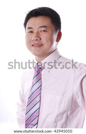 Asian business man smiling isolated on a white background - stock photo