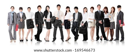 Asian business team, businesswomen and businessmen in group standing and looking at you, isolated on white background. - stock photo