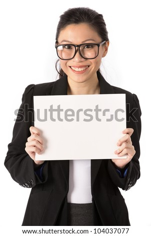 Asian Business woman holding an empty white sign. - stock photo