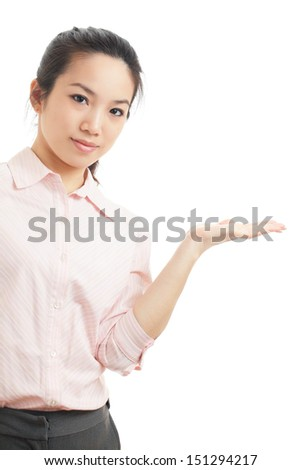 Asian business woman introduce something - stock photo