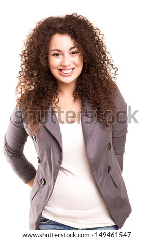 Asian business woman posing isolated over a white background - stock photo