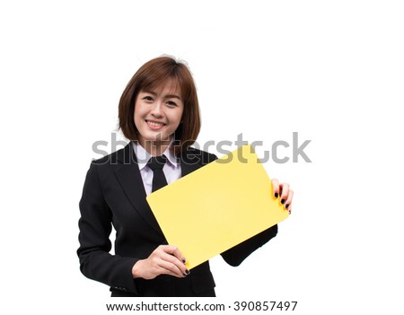 Asian business woman showing blank signboard - stock photo