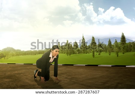 Asian business woman start to run on the highway - stock photo