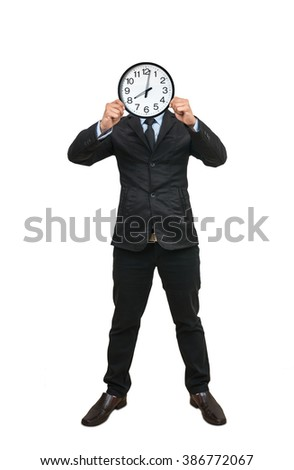 Asian businessman holding the clock to close his face on white background, include clipping path - stock photo