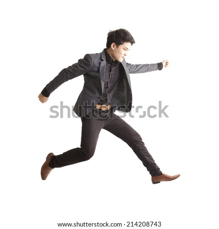Asian businessman jumping,isolate on white background. - stock photo