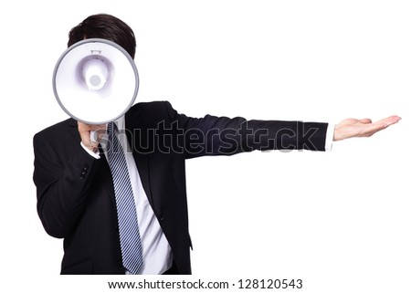 asian businessman using bullhorn  isolated on white background - stock photo