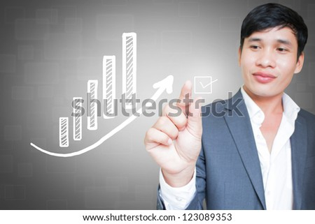 Asian Businessman With  Financial Concepts  And Ideas Background - stock photo