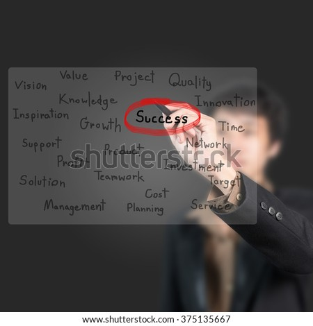"""Asian businessman with pen choose word """"success"""" on whiteboard - stock photo"""