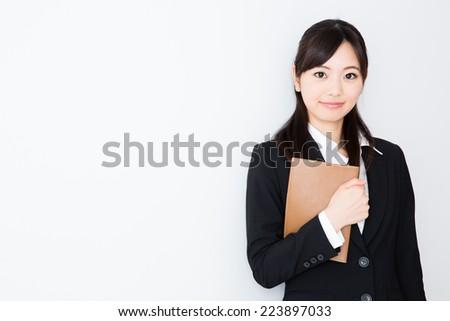 asian businesswoman on white background - stock photo