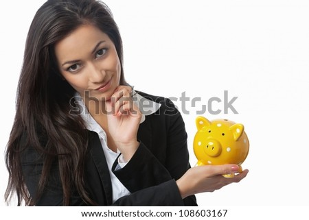 Asian Businesswoman presenting piggy bank isolated on white - stock photo