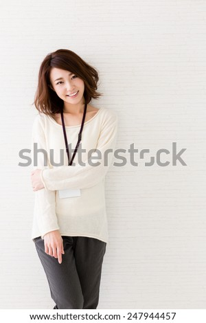 asian businesswoman relaxing in the office - stock photo