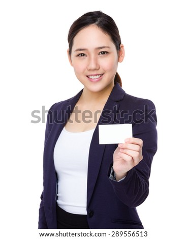 Asian businesswoman show with namecard - stock photo