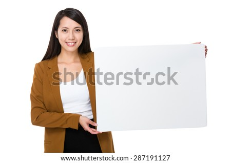 Asian businesswoman show with white banner - stock photo