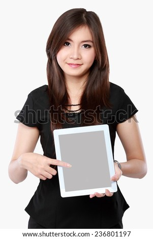 asian businesswoman showing blank screen tablet - stock photo