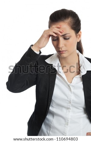 Asian Businesswoman with headache on white background - stock photo
