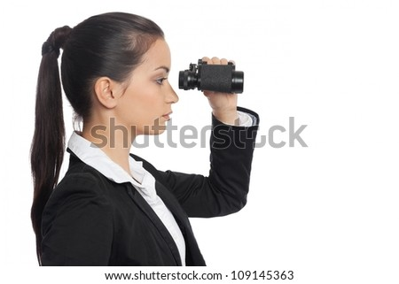 Asian Businesswoman with ocular side view isolated on white - stock photo