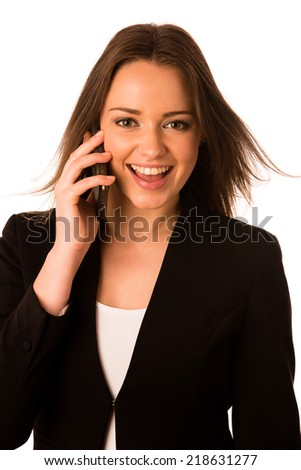 asian caucasian business woman talking in cell phone - stock photo
