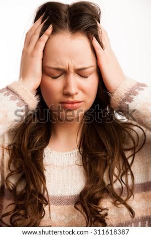 Asian caucasian woman having a head ache - stock photo