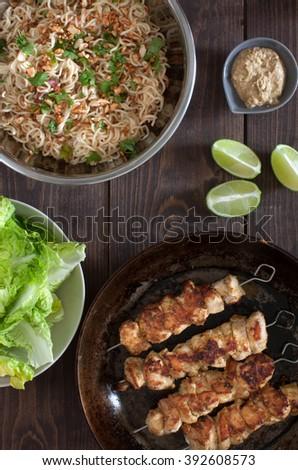 Asian chicken satay - stock photo