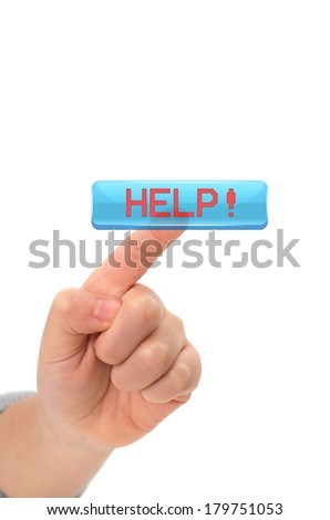 Asian Child finger Touching an help button on virtual screen on white background - stock photo