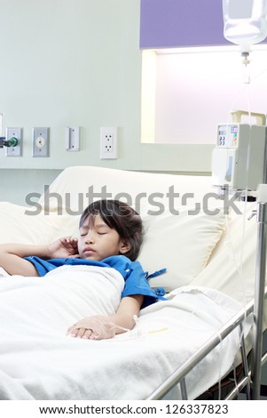 asian children girl in hospital - stock photo