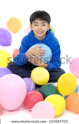 asian children with colorful balloons  - stock photo