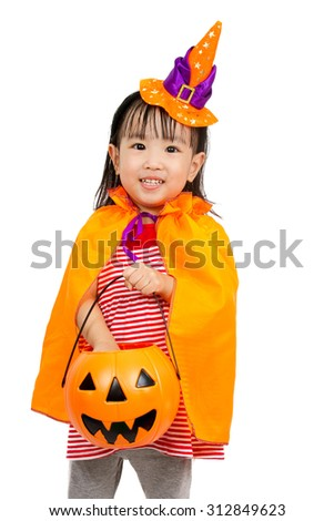 Asian Chinese Little girl celebrate Halloween studio shot. - stock photo