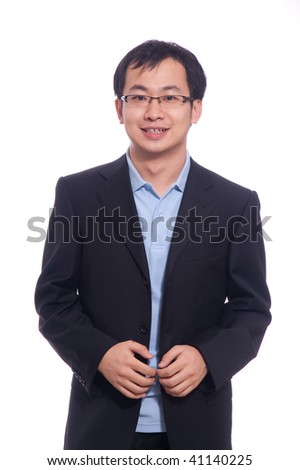 Asian Chinese young student in blue polo and black suite - stock photo