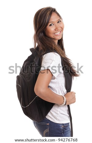 Asian college student with backpack isolated on white - stock photo