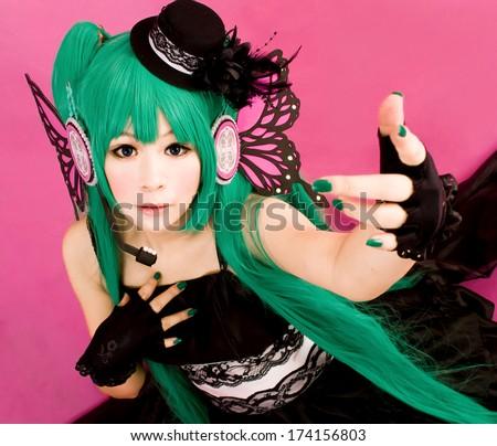 asian cosplay miku japanese style - stock photo