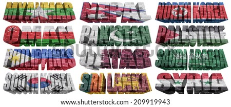 Asian countries (From M to S) flag words on a white background - stock photo