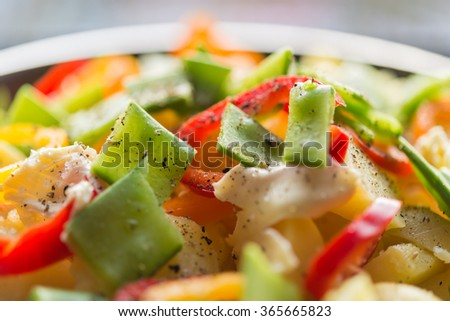 Asian cuisine healthy raw food prepared to cook in pan  Top view image at assorted vegetable like paprika chili sugar snap potato butter ideal for food blog  - stock photo