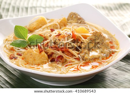 Asian Curry Beef Noodle Soup dish - stock photo