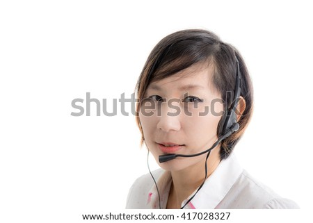 Asian customer service operator woman with headset, isolated on white background - stock photo