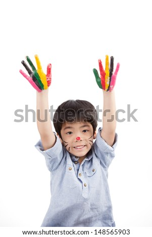 asian cute boy raising up his hands isolated on white background - stock photo