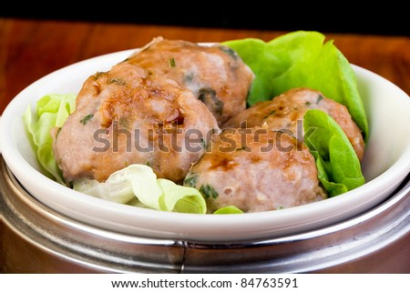 Asian Dim Sum Meatballs in a metal pan - stock photo