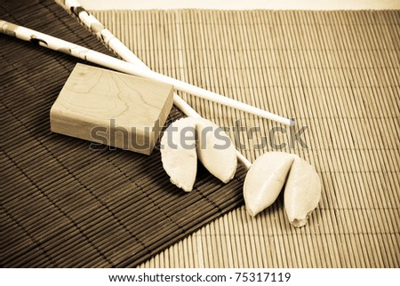 Asian Dining Fortune Cookies - stock photo