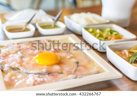 Asian dishes fondue fish delicious Thai food. - stock photo