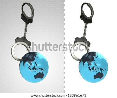 Asian earth globe in chain as criminality concept double illustration - stock photo