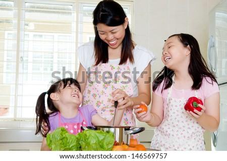 Asian family kitchen lifestyle - stock photo