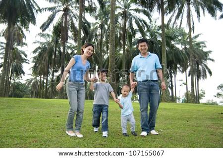 asian family outing - stock photo