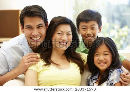 Asian family portrait - stock photo