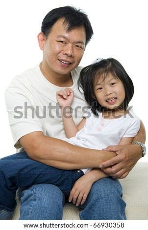 Asian father and daughter on white background - stock photo