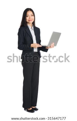 asian female business on laptop - stock photo