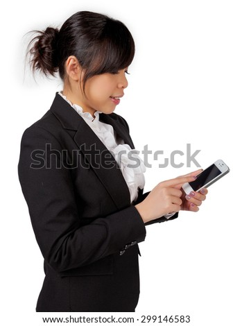 asian female business woman executive texting, messaging, using smartphone application with touchscreen technology on white background - stock photo