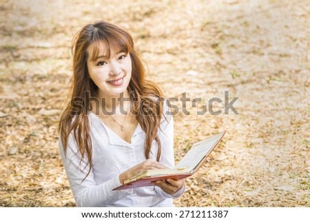 Asian female college or university student - stock photo