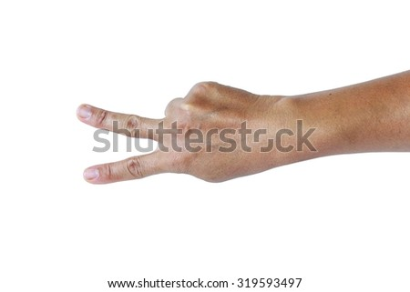 Asian female hand on the isolated background - stock photo