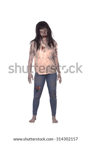 Asian female zombie isolated over white background - stock photo
